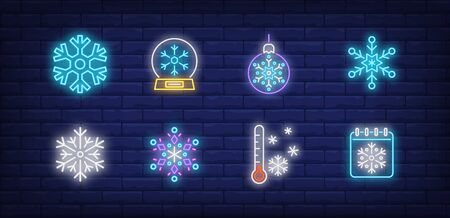 Winter neon sign set with snowflakes, bauble, thermometer, snow globe. Vector illustration in neon style for topics like December holidays, Christmas, snowfall Banque d'images - 134691831