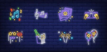Party neon sign set with air balloons, DJ mixer, music notes, masks on sticks. Vector illustration in neon style, bright banner for topics like anniversary, birthday, celebration