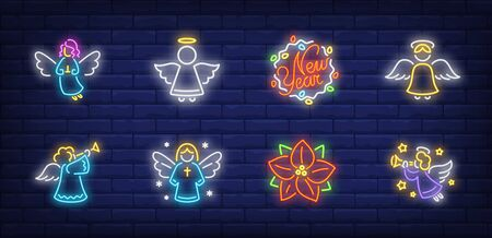 Angels neon sign collection. Glowing neon figures. Holiday, celebration, present. Vector illustration in neon style for greeting card, invitation, announcement Banque d'images - 134691854