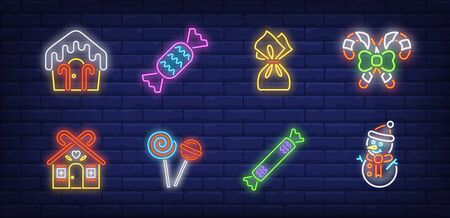 Christmas sweets neon sign set. House shaped candy, lollipop. Vector illustration in neon style, bright banner for topics like Xmas, New Year, holiday Banque d'images - 134690664