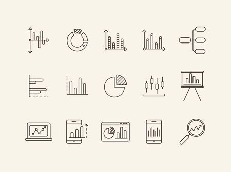 Diagrams line icon set. Chart, data, analytics, report isolated outline sign pack. Graph, analysis, statistics concept. Vector illustration symbol elements for web design and apps