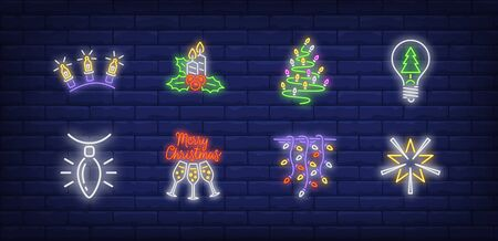 New Year decoration neon sign set. Fairy lights, garland, strands. Vector illustration in neon style, bright banner for topics like Xmas, Christmas, decoration Banque d'images - 134691712