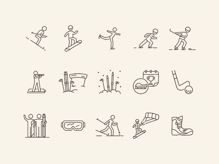 Snowsport thin line icon set. Skating, bobsleigh prize, snowboarding boots sign pack. Winter sports concept. Vector illustration symbol elements for web design and apps Illusztráció