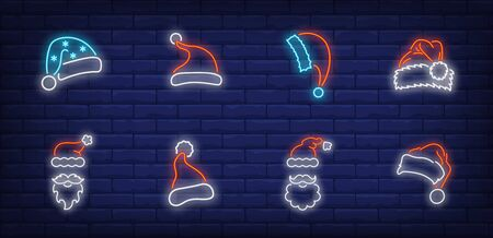 Christmas cap neon sign set. Red Santa Claus hat, beard, moustache, fur. Vector illustration in neon style, bright banner for topics like Xmas, costume, December holidays Banque d'images - 134690462