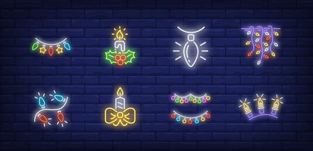 New Year decor neon sign set with fairy lights, garland, strands. Vector illustration in neon style, bright banner for topics like Xmas, Christmas, decoration Banque d'images - 134690469
