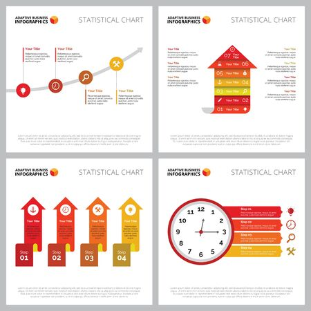 Creative infographic set for business project, web design, marketing report, presentation slide template. Strategy of growth and project development concept. Process, part, option charts Çizim