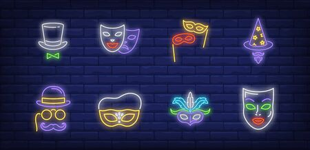 Festive masks neon sign set. Hats, moustache, eyeglasses on sticks. Vector illustration in neon style, bright banner for topics like New Year party, holiday, festive carnival 向量圖像