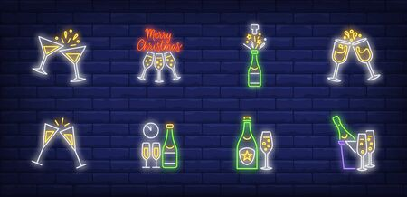 Christmas toast neon sign set. Fizzy wine, bottle, flutes, cocktail. Vector illustration in neon style, bright banner for topics like Xmas, New Year party, holiday Illusztráció
