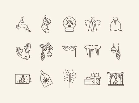 New Years Day symbols thin line icon set. Reindeer, mittens, icicles sign pack. Winter holidays concept. Vector illustration symbol elements for web design and apps