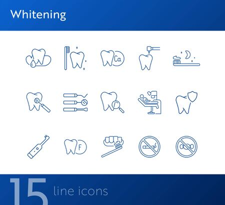 Whitening line icon set. Tooth, dentist tools, toothbrush, protection. Dental care concept. Can be used for topics like dentist office, dentistry, healthcare Illustration