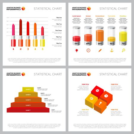 Colorful infographic style set can be used for web design, presentation slide, survey. Business and marketing concept with metaphor, bar, process charts 向量圖像