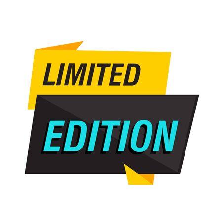 Signo de edición limitada sobre fondo blanco. Las letras se pueden utilizar para etiquetas publicitarias, pegatinas, pancartas, folletos, insignias, etiquetas, carteles. Concepto de venta Ilustración de vector