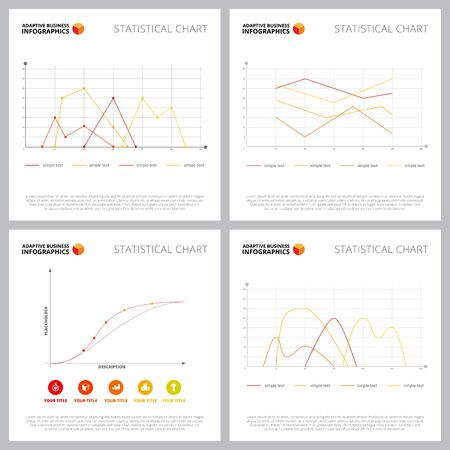Modern infographic composition set can be used for web design, presentation slide, finanacial reports. Business and finance concept with line charts