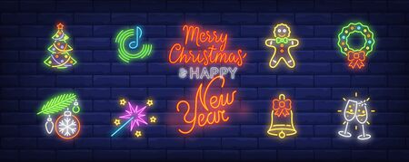 New Year party neon sign set. Tree, bauble, champagne flutes, wreath. Vector illustration in neon style, bright banner for topics like Christmas, December holidays, festive decoration