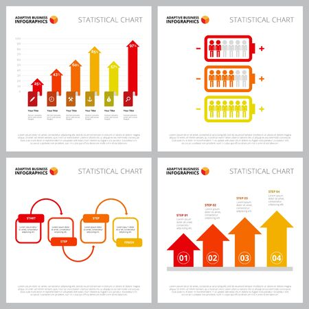 Collection of modern infographic design can be used for web design, presentation slide, annual report. Business and marketing concept with bar, process, arrow, metaphor charts