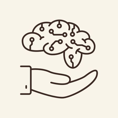 AI development thin line icon. Brain with neural circuit on human hand isolated outline sign. Artificial intelligence concept. Vector illustration symbol element for web design and apps. 일러스트