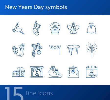 New Years Day symbols thin line icon collection. Sleigh with gifts, angel, envelope sign pack. Winter holidays concept. Vector illustration symbol elements for web design and apps Stock Illustratie