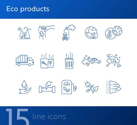 Eco line icons. Set of line icons. Filling station, planet heating. Ecology concept. Vector illustration can be used for topics like nature, environment protection