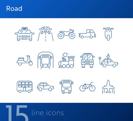 Road line icon set. Taxi, train, airplane, car, subway. Transport concept. Can be used for topics like vehicle, trip, journey, traffic