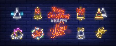 Bells neon sign set. Glowing neon bells. Holiday, celebration, present. Vector illustration in neon style for greeting card, invitation, announcement