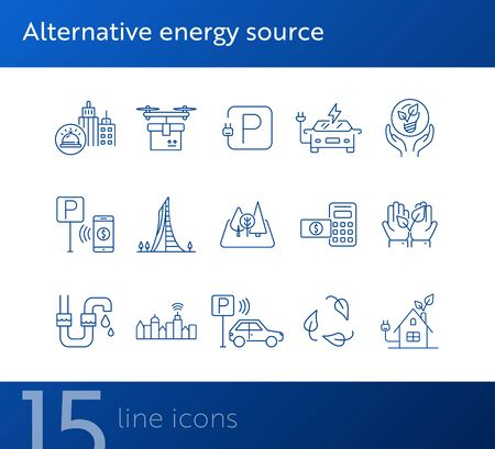 Alternative energy source icons. Set of line icons. Electrical car, plant in hands, water tube. Alternative energy concept. Vector illustration can be used for topics like environment, ecology Ilustração