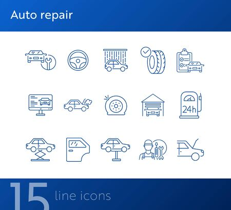 Auto repair icons. Set of line icons. Car lift, flat tyre, diagnostic. Car repair concept. Vector illustration can be used for topics like car service, business, advertising