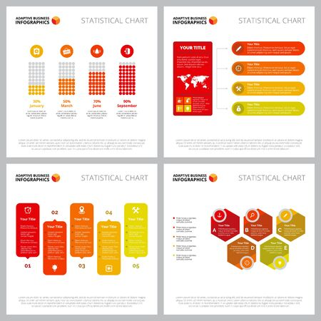 Creative infographic layout set can be used for web design, presentation slide, report. Business concept with bar, flow, process charts Illustration
