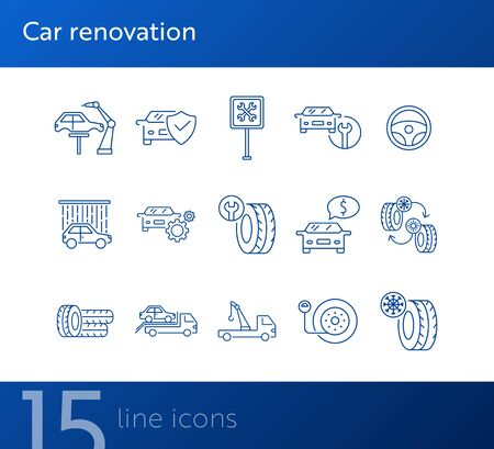 Car renovation line icons. Set of line icons. Robot, car shower, changing tyres. Car repair concept. Vector illustration can be used for topics like car service, business, advertising