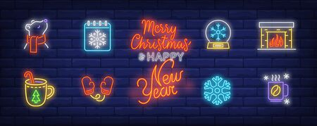 Winter time neon sign set with fireplace, hot coffee, calendar, mitten, bear in scarf. Vector illustration in neon style, bright billboard for topics like vacation, December holiday, leisure
