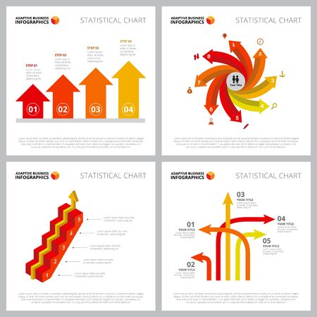 Colorful infographic design set can be used for web design, presentation slide, financial reports. Business and marketing concept with bar, arrow, step charts Ilustracja