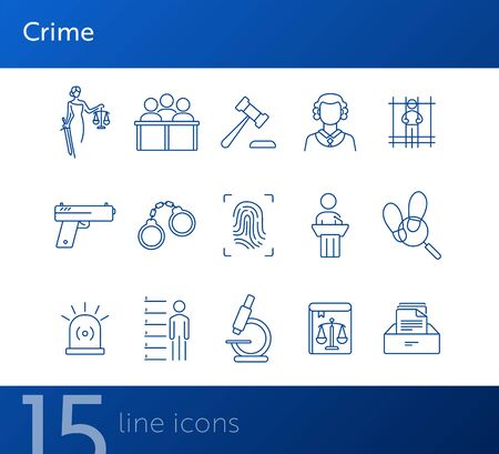 Crime line icon set. Themis statue, judge gavel, fingerprint. Justice concept. Can be used for topics like court, trial, investigation, evidence