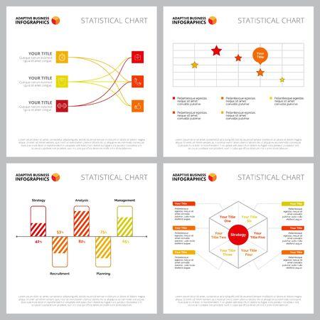 La raccolta di composizioni infografiche colorate può essere utilizzata per il web design, diapositive di presentazione, pubblicità. Concetto di business con flusso, barra, grafici percantage, grafico a dispersione