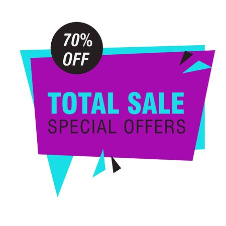 Total sale special offers banner 70 percent off banner. White background. Big sale, special offer, discounts, clearance. Sale concept