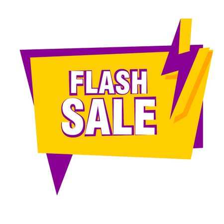 Bright flash sale poster with lightning bolt. White background. Big sale, special offer, discounts. Sale concept