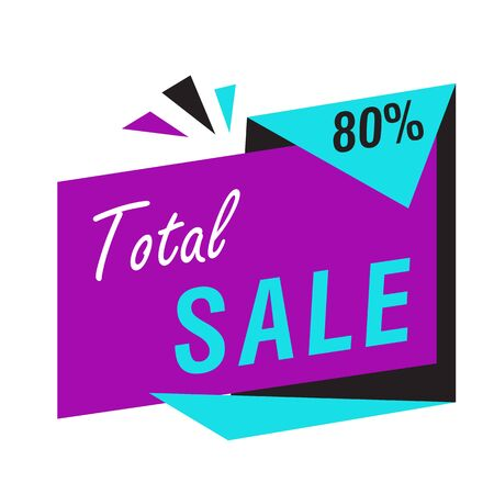 Total sale bright banner on white background. Big sale, special offer, discounts, 80 percent off. Sale concept