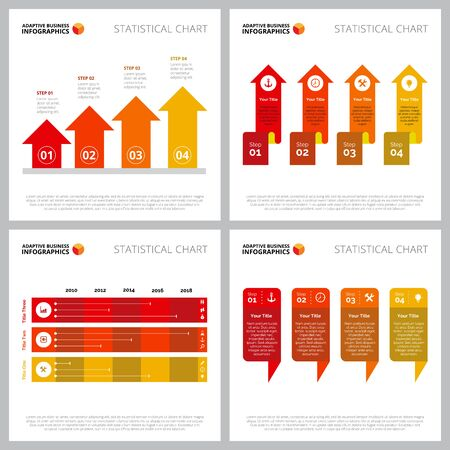 Collection of multicoloured infographic design can be used for web design, presentation slide, marketing report. Business concept with bar, arrow charts