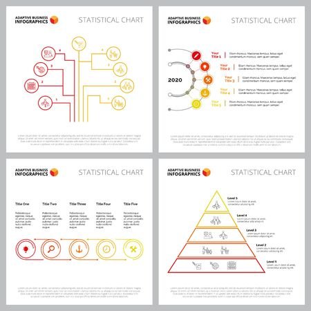 Collection of colorful infographic template can be used for web design, presentation slide, advertising. Business concept with process, flow, tree, time charts Ilustracja