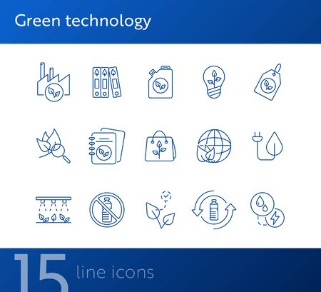 Green technology icons. Set of line icons. Notebook, recycling, taxi. Eco technology concept. Vector illustration can be used for topics like ecology, technology, environment