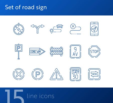 Set of road sign icons. One way, barrier, stop sign. Road sign concept. Vector illustration can be used for topics like traffic, road marking, traffic striping 일러스트