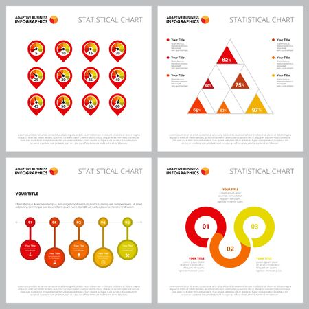 Multicoloured infographic composition collection can be used for web design, presentation page, marketing reports. Business concept with process, percentage charts