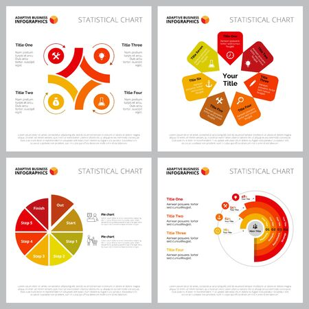 Creative infographic template set can be used for web design, presentation slide, reports. Business concept with creative process, pie and radar bar charts Ilustracja