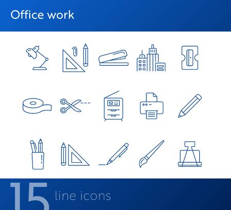 Office work icon set. Line icons collection on white background. Pencil, stationary, school. Education concept. Can be used for topics like office, college, tool