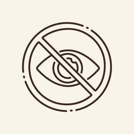 Interdiction de regarder l'icône de la ligne mince. Mot de passe caché, arrêt circulaire, signe de contour isolé des yeux. Notion d'intelligence artificielle. Élément de symbole d'illustration vectorielle pour la conception Web et les applications Vecteurs