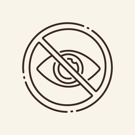 Prohibition of watching thin line icon. Hidden password, circular stop, eye isolated outline sign. Artificial intelligence concept. Vector illustration symbol element for web design and apps Vectores