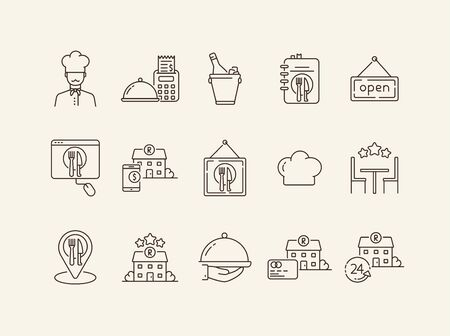 Restaurant choosing line icon set. Award stars, location pointer, always open isolated outline sign pack. Restaurant business concept. Vector illustration symbol elements for web design Banque d'images - 134862792