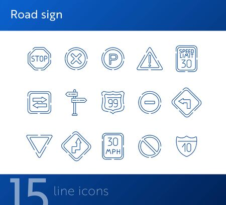 Road sign line icon set. Stop sign, speed limit, parking sign. Road sign concept. Vector illustration can be used for topics like traffic, road marking, traffic striping