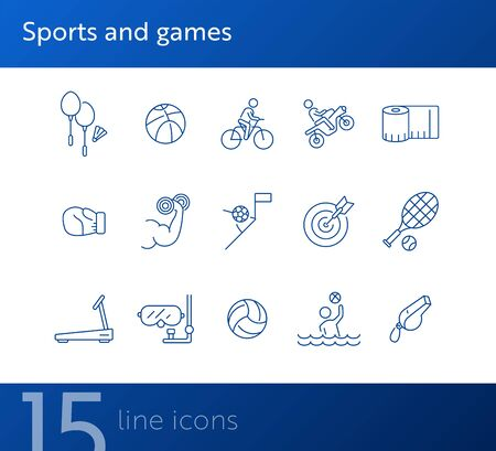 Sports and games line icon set. Cycling, equipment, match. Training concept. Can be used for topics like recreation, activity, fitness Illustration