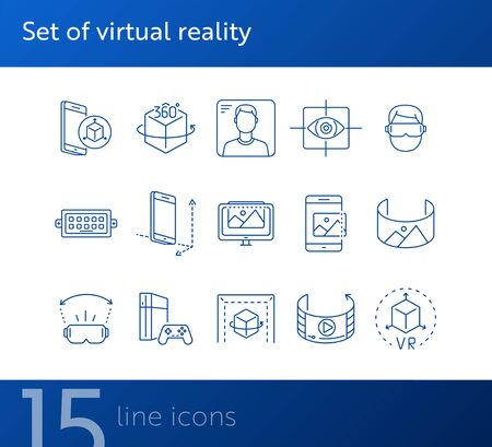 Set of virtual reality icons. Mobile and cube, eye scanner, game consol. Virtual reality concept. Vector illustration can be used for topics like VR, modern technologies, inventions Illustration