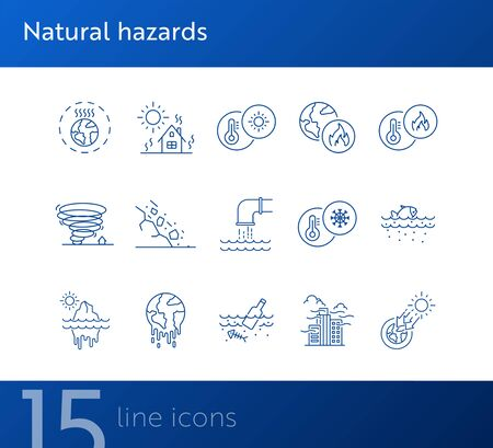 Natural hazards icons. Set of line icons. Liquid wastes, melting planet, tornado. Ecology concept. Vector illustration can be used for topics like environment protection, nature Stock Vector - 134862811