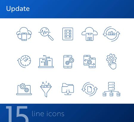 Update line icon set. Smartphone, information, analytics. Data concept. Can be used for topics like technology, storage, network 일러스트